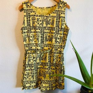 Vintage 70s Ancient Phoenician Print Romper